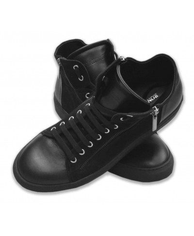 Buckskin and leather black sneakers