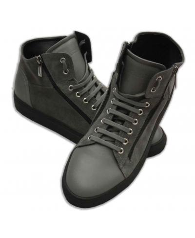 Buckskin and leather grey sneakers